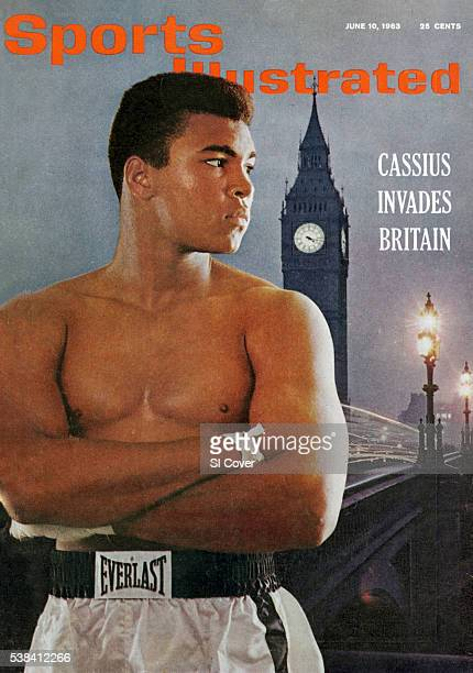 Heavyweight Boxing Portrait of Cassius Clay during photo shoot Dye transfer of London skyline Houses of Parliament and Palace of Westminster clock...
