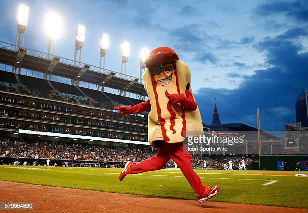Cleveland Indians mascot Ketchup entertains fans between innings during the MLB game between the Seattle Mariners and the Cleveland Indians at...