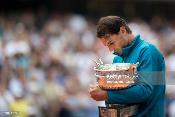 June 10 French Open Tennis Tournament Day Fifteen  An emotional Rafael Nadal of Spain with the trophy after his victory against Dominic Thiem of...
