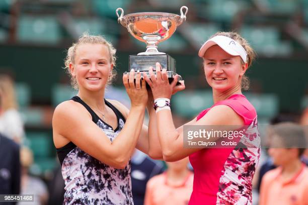 June 10 French Open Tennis Tournament Day Fifteen Barbora Krejcikova and Katerina Siniakova of the Czech Republic with the winners trophy after their...