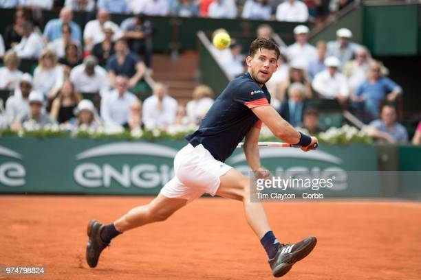 June 10 French Open Tennis Tournament Day Fifteen Dominic Thiem of Austria in action againstRafael Nadal of Spain on Court PhilippeChatrier during...