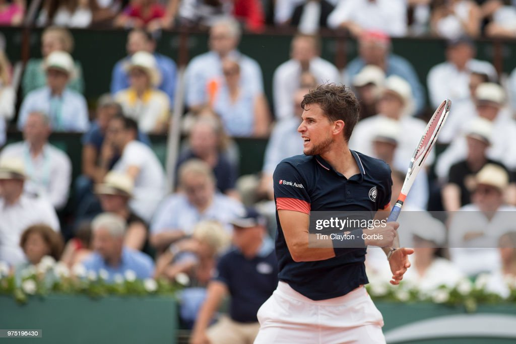June 10. French Open Tennis Tournament - Day Fifteen. Dominic Thiem of Austria in action againstRafael Nadal of Spain on Court Philippe-Chatrier during the Men's Singles Final at the 2018 French Open Tennis Tournament at Roland Garros on June 10th 2018 in Paris, France.