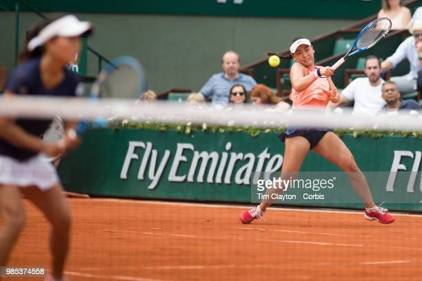 June 10 French Open Tennis Tournament Day Fifteen Eri Hozumi of Japan in action with her doubles partner Makoto Ninomiya of Japan against Barbora...