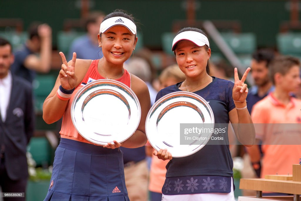 June 10. French Open Tennis Tournament - Day Fifteen. Eri Hozumi of Japan, (left) and her doubles partner Makoto Ninomiya of Japan with their runners-up trophies after their loss to Barbora Krejcikova and Katerina Siniakova of the Czech Republic in the Women's Doubles final at the 2018 French Open Tennis Tournament at Roland Garros on June 10th 2018 in Paris, France.