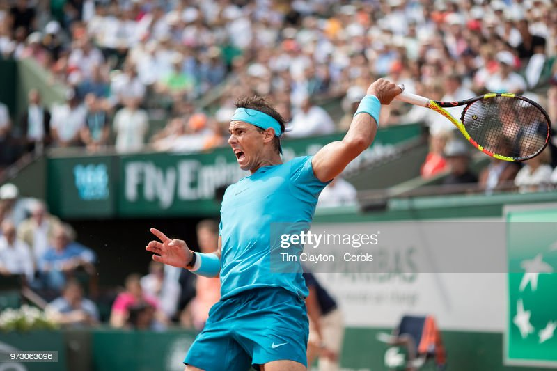 June 10. French Open Tennis Tournament - Day Fifteen. Rafael Nadal of Spain in action against Dominic Thiem of Austria on Court Philippe-Chatrier during the Men's Singles Final at the 2018 French Open Tennis Tournament at Roland Garros on June 10th 2018 in Paris, France.
