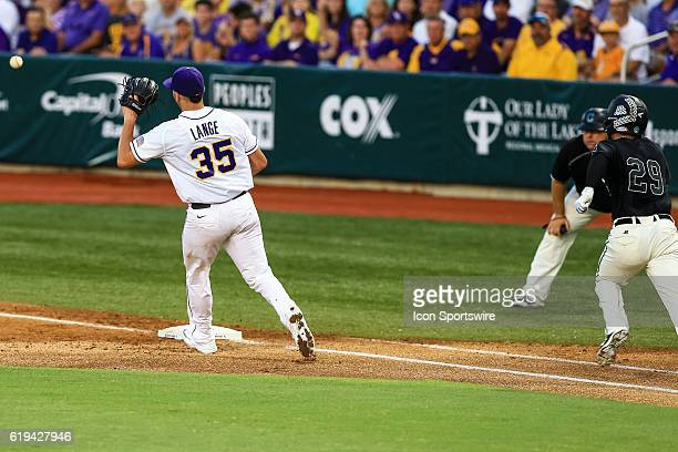 June 11 2016 Coastal Carolina outfielder Anthony Marks is out at first base by LSU pitcher Alex Lange during the NCAA DIV I Championship Baton Rouge...