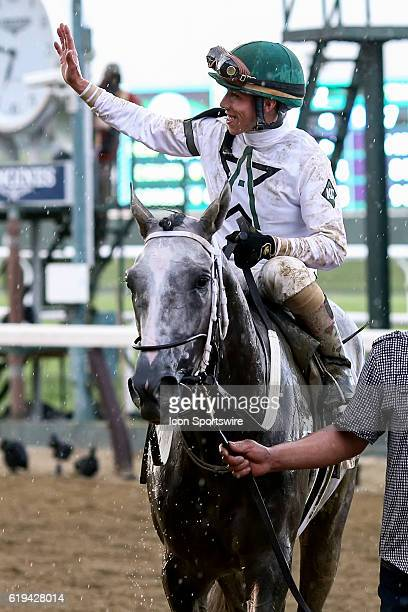 Irad Ortiz Jr waves to spectators after riding Creator to victory in the 148th running of the Belmont Stakes in Hempstead NY