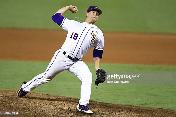 June 11 2016 LSU pitcher Austin Bain during the NCAA DIV I Championship Baton Rouge Super Regional game between Coastal Carolina and LSU at Alex Box...