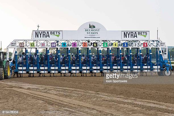 The field loads into the starting gate for 148th running of the Belmont Stakes in Hempstead NY