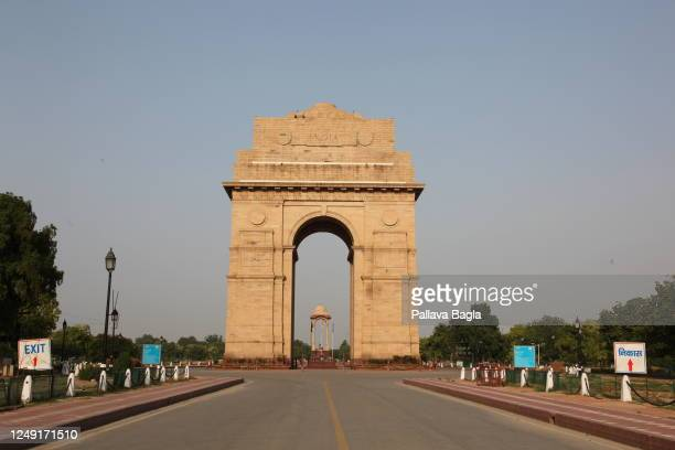June 11, 2020. A general view of the India Gate with blue skies on June 11, 2020 in New Delhi,India.