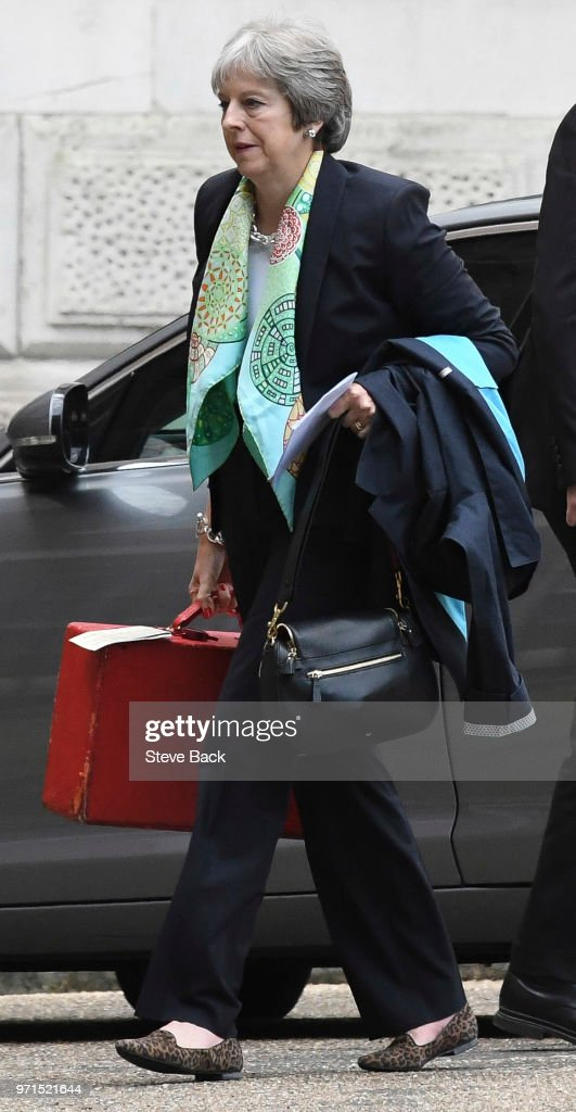 British Prime Minister Theresa May arriving for work : News Photo