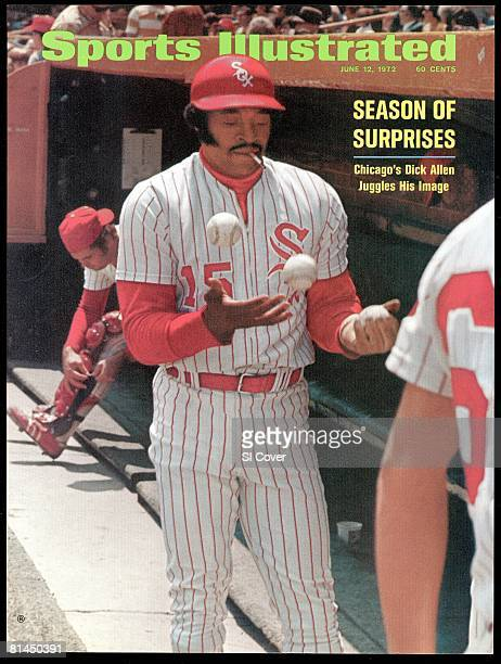 June 12 1972 Sports Illustrated Cover Baseball Chicago White Sox Dick Allen juggling balls and smoking cigarette in dugout during game vs Minnesota...