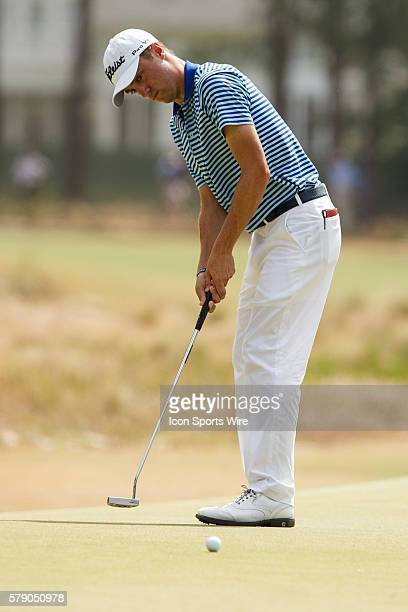 Justin Thomas putts the ball during the first round of the 114th US Open Championship at the Pinehurst No 2 in Pinehurst North Carolina