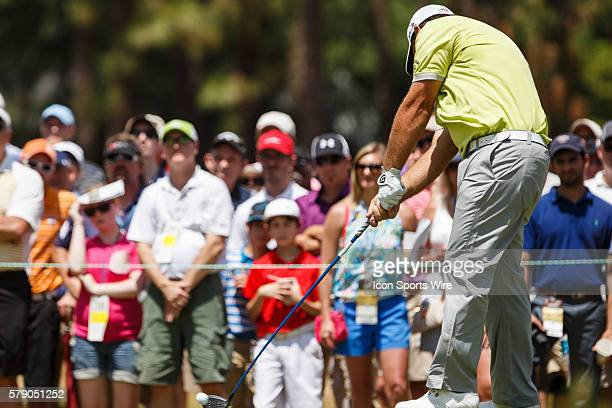 Patrick Reed drives the ball during the first round of the 114th US Open Championship at the Pinehurst No 2 in Pinehurst North Carolina