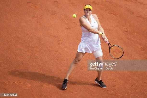 June 12. Anastasia Pavlyuchenkova of Russia in action against Barbora Krejcikova of the Czech Republic on Court Philippe-Chatrier during the final of...