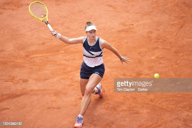 June 12. Barbora Krejcikova of the Czech Republic in action against Anastasia Pavlyuchenkova of Russia on Court Philippe-Chatrier during the final of...