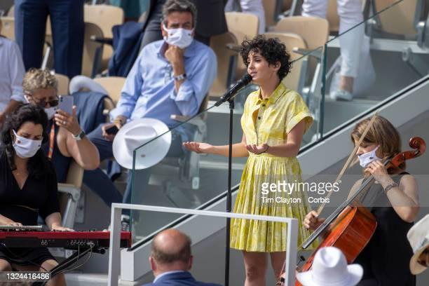 June 12. France's Eurovision 2021 star Barbara Pravi performs Voilà before the trophy presentation after Barbora Krejcikova of the Czech Republic...