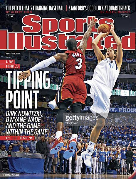 Basketball NBA Finals Dallas Mavericks Dirk Nowitzki in action taking shot vs Miami Heat Dwyane Wade at American Airlines Center Game 3 Dallas TX...