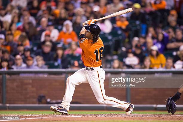 San Francisco Giants center fielder Angel Pagan at bat and following the trajectory of the ball after connecting during the game between the San...