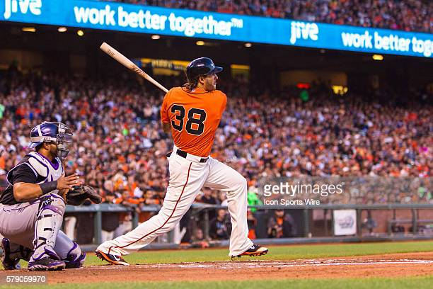San Francisco Giants left fielder Michael Morse at bat and watching the trajectory of the ball during the game between the San Francisco Giants and...
