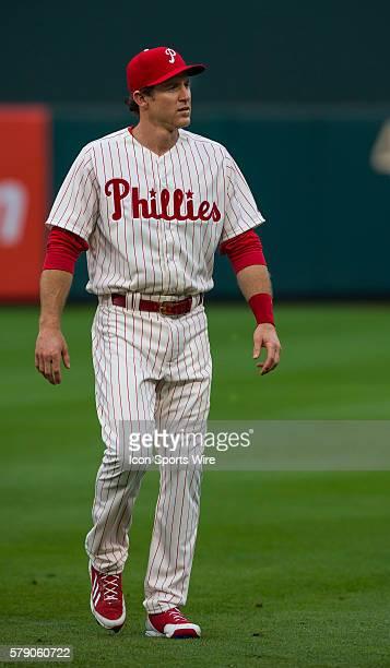 wearing his retro 1964 uniform Philadelphia Phillies second baseman Chase Utley warms up before a Major League Baseball game between the Philadelphia...