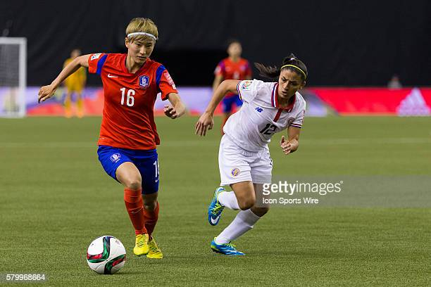 Korea midfielder Kang Yumi in action against Costa Rica defender Lixy Rodriguez during the 2015 FIFA Women's World Cup Group E match between Korea...