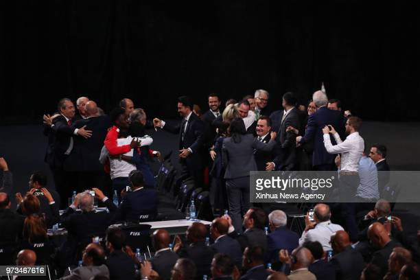 MOSCOW June 13 2018 Delegates of Canada Mexico and the United States celebrate after winning the joint bid to host 2026 football World Cup in Moscow...