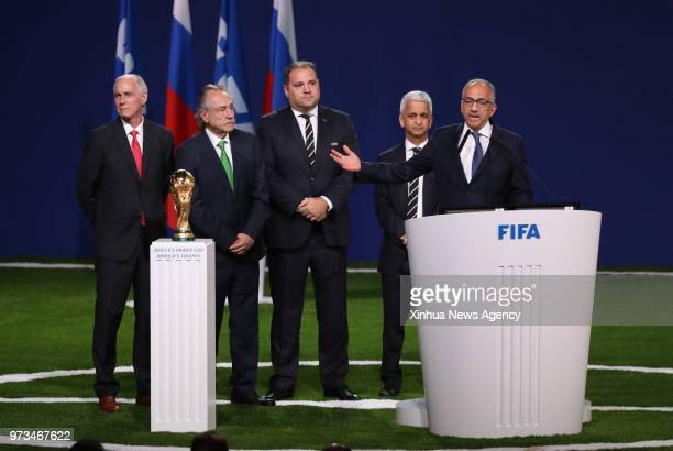 MOSCOW June 13 2018 The president of the United States Soccer Federation Carlos Cordeiro delivers a speech after winning the joint bid to host the...