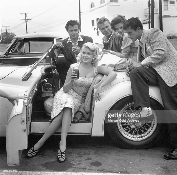 June 13 California Los Angeles Jayne Mansfield and Natalie Wood Clockwise Jayne Mansfield Lance Fuller John Smith Natalie Wood Bob fuller at a...