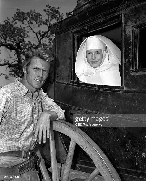 """June 14, 1960 RAWHIDE Clint Eastwood as Rowdy Yates and Gigi Perreau as Sister Joan on""""Incident at Poco Tiempo""""."""