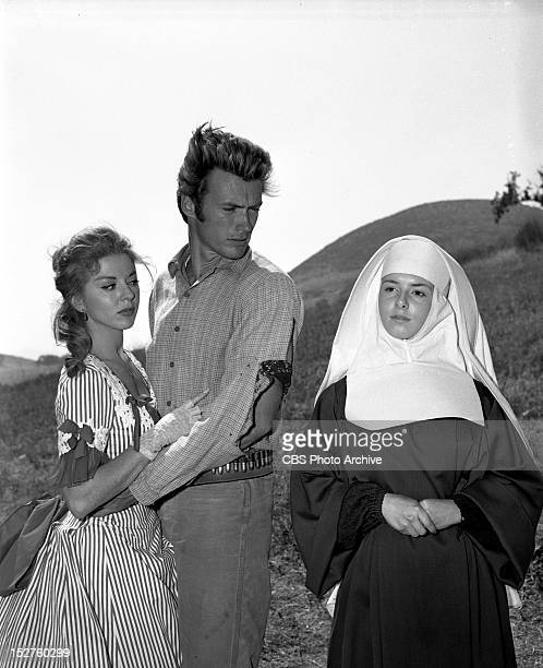 June 14 1960 RAWHIDE Clint Eastwood as Rowdy Yates and Gigi Perreau as SisterJoan right and Carolyn Huges as Emerald Carney onIncident at Poco Tiempo