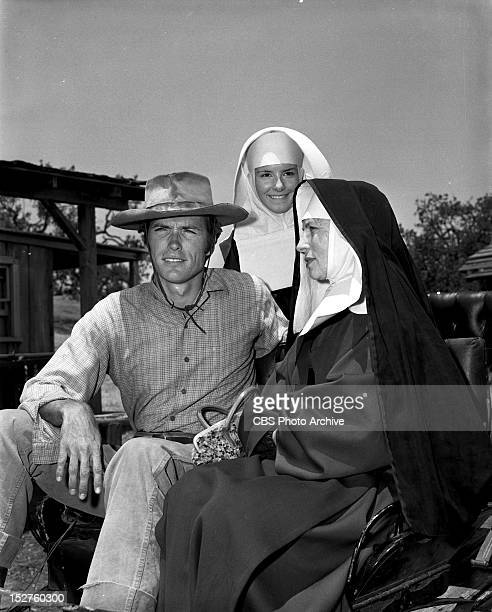June 14 1960 RAWHIDE Clint Eastwood as Rowdy Yates and Gigi Perreau as Sister Joan center and Agnes Morrehead as Sister Francis onIncident at Poco...