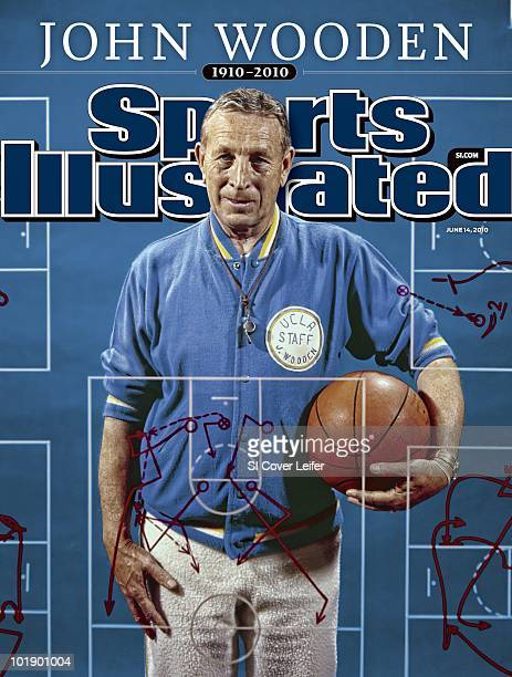 June 14 2010 Sports Illustrated via Getty Images Cover College Basketball Portrait of UCLA coach John Wooden during photo shoot Los Angeles CA...