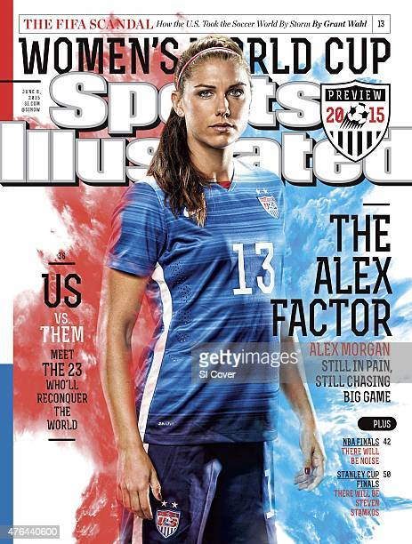 Soccer FIFA World Cup Preview Portrait of US Women's National Team forward Alex Morgan during photo shoot at Marriott Hotel Spa Composite photo...