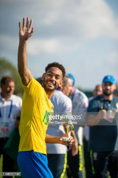 June 15 Matheus Cunha of Brazil at the trophy presentations after the Brazil U22 V Japan U22 Final match at the Tournoi Maurice Revello at Stade...