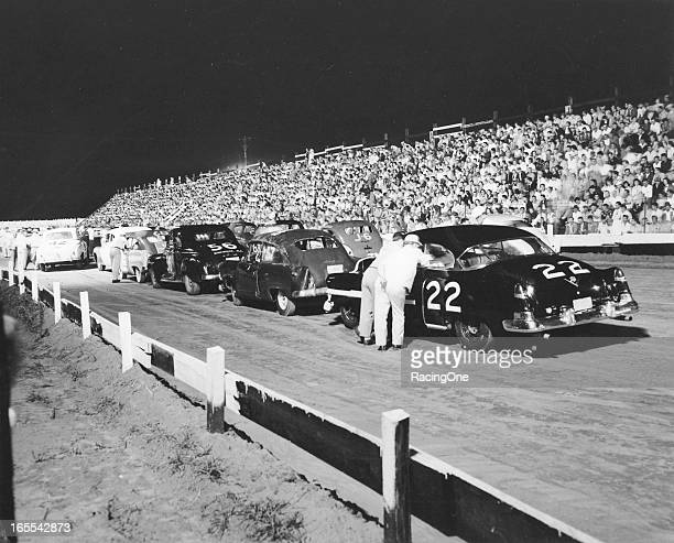 Cars are readied for the start of a NASCAR Cup race at Columbia Speedway Georgia driver Gober Sosbee was at the wheel of the No 22 1950 Cadillac
