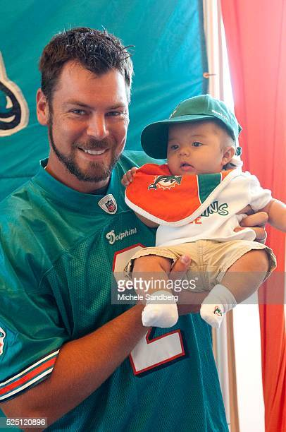 June 16 2012 MIAMI DOLPHINS PUNTER BRANDON FIELDS with baby CASON LUNA CASON LUNA are here with his parents who will be getting a free skin screening...