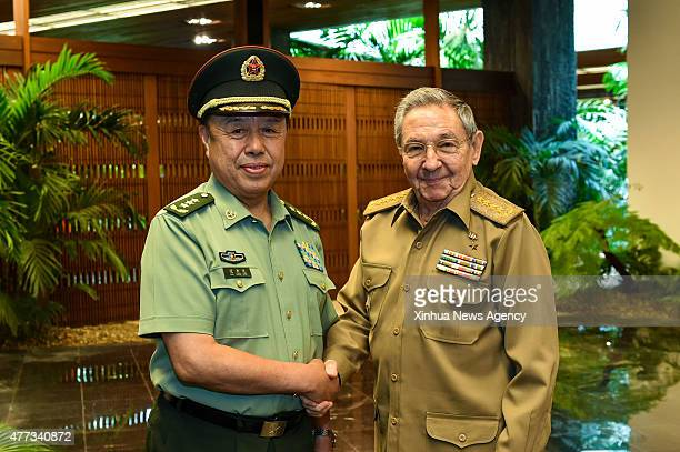 HAVANA June 16 2015 Cuban President Raul Castro meets with Fan Changlong vice chairman of China's Central Military Commission in Havana capital of...