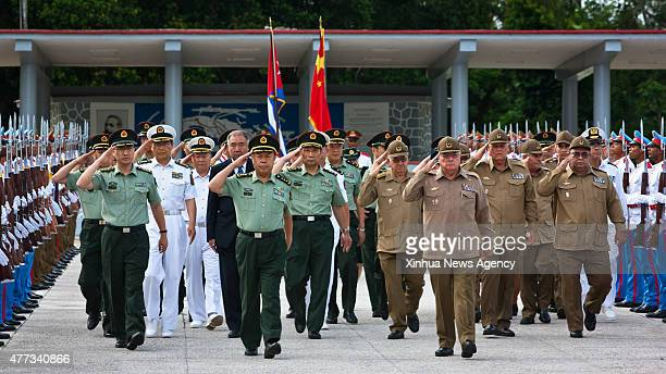 HAVANA June 16 2015 Fan Changlong vice chairman of China's Central Military Commission and Alvaro Lopez Miera chief of the General Staff of Cuba's...