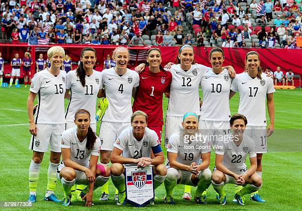 The United States starters pose for a photo before taking on Nigeria on Tuesday at BC Place in Vancouver British Columbia Clockwise from top left...