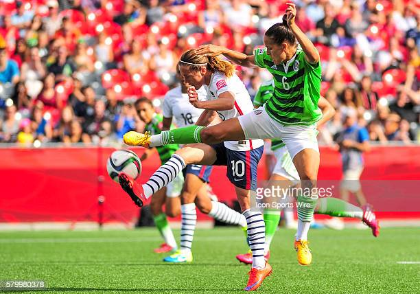 Camile Abily of France is denied by Jennifer Ruiz of Mexico during the FIFA 2015 Women's World Cup Group F match between Mexico and France at...