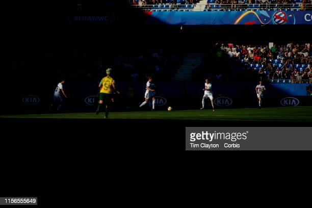 June 17 Germany bring the ball out of defence during the early eying sun and shadows during the Germany V South Africa Group B match at the FIFA...