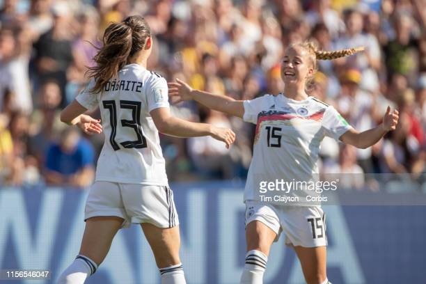 June 17. Sara Däbritz of Germany celebrates with Giulia Gwinn of Germany after scoring her sides second goal during the Germany V South Africa, Group...