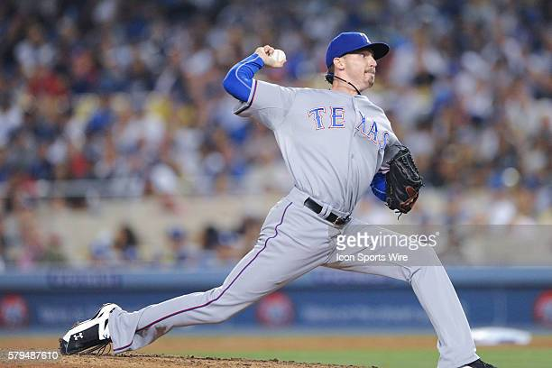 Texas Rangers Pitcher Tanner Scheppers [7905] pitches during the game between the Rangers and the Dodgers at Dodger Stadium in Los Angeles CA