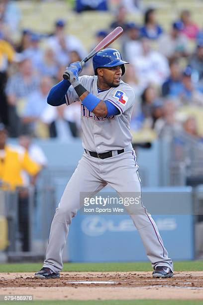 Texas Rangers Shortstop Elvis Andrus [6293] bats during the game between the Rangers and the Dodgers at Dodger Stadium in Los Angeles CA