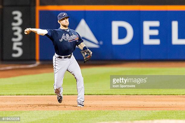Atlanta Braves first baseman Brandon Snyder shows over to first base during a regular season game between the Atlanta Braves and the New York Mets at...