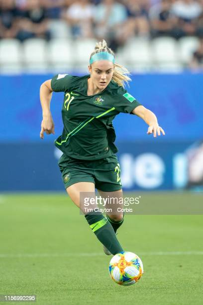 June 18. Ellie Carpenter of Australia in action during the Jamaica V Australia, Group C match at the FIFA Women's World Cup at Stade des Alpes on...