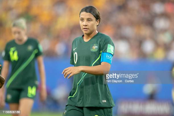 June 18. Sam Kerr of Australia during the Jamaica V Australia, Group C match at the FIFA Women's World Cup at Stade des Alpes on June 18th 2019 in...
