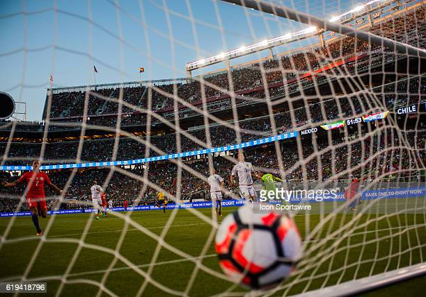 A ball comes into the net after Chile scores in the second half during the Copa America Centerario Quarterfinal match between Mexico versus Chile at...