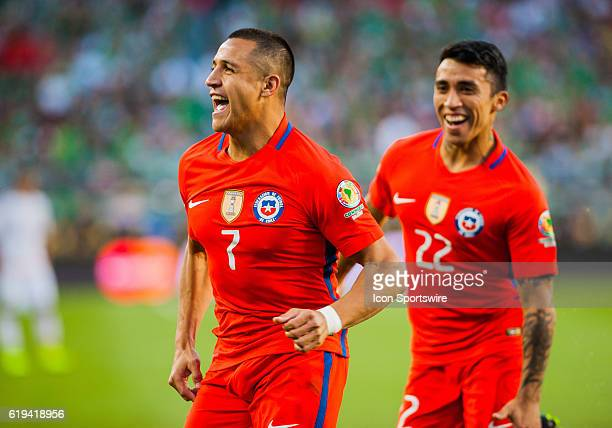 Chile forward Alexis Sanchez celebrates after scoring a goal in the second half during the Copa America Centerario Quarterfinal match between Mexico...